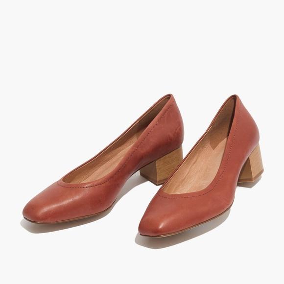 e3dbdd89559 Madewell Shoes - MADEWELL Raquel Leather Block Heeled Pump